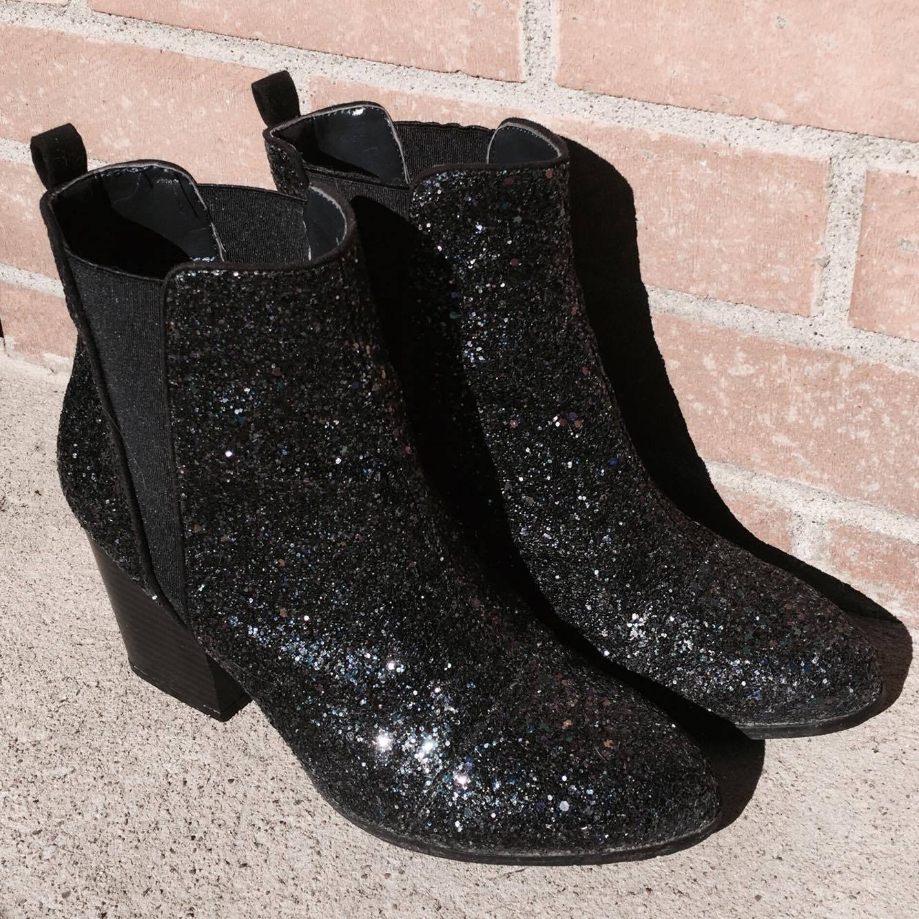 bottes noires boots fashion mode chelsea bling glitters